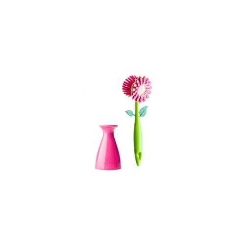 Escova-lava-loucas-vaso-de-flor-rosa