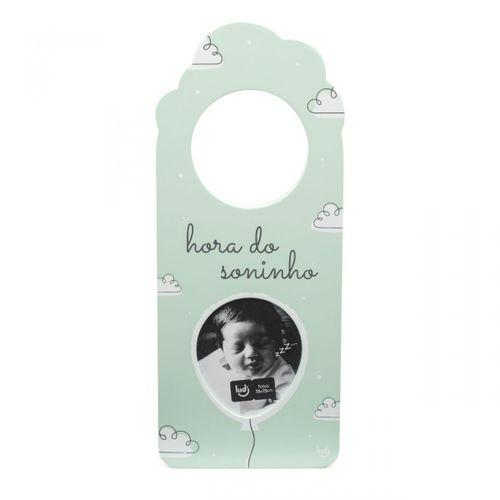 Aviso de porta com foto bebe verde