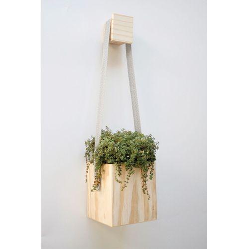 Vaso pendente cubo madeira