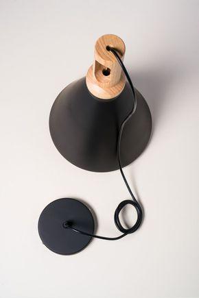Luminaria-pendente-cone-preta