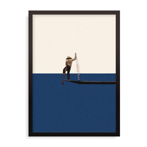 Quadro Fishing For Compliments - 44 x 61,4 cm - Preto