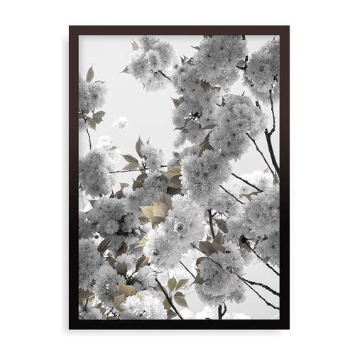 Quadro White Spring Blossoms - 31,7 x 44 cm - Preto