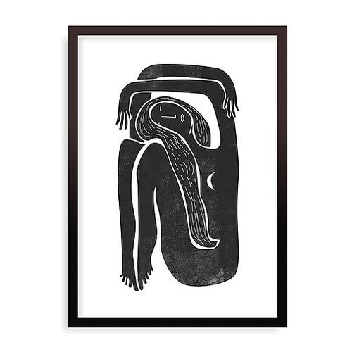 Quadro Woodblock Girl Moon - 31,7 x 44 cm - Preto