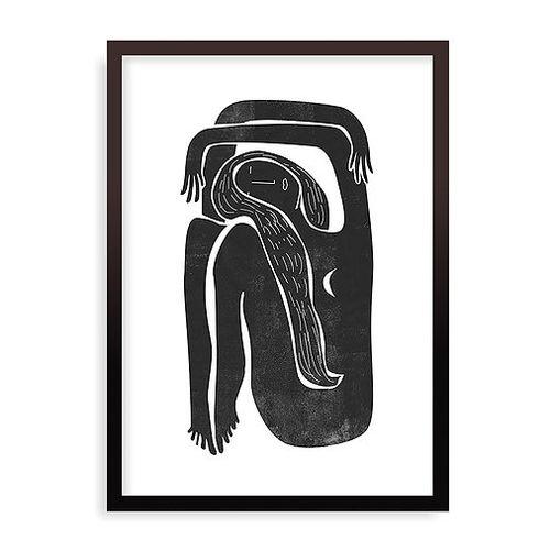 Quadro Woodblock Girl Moon - 44 x 61,4 cm - Preto