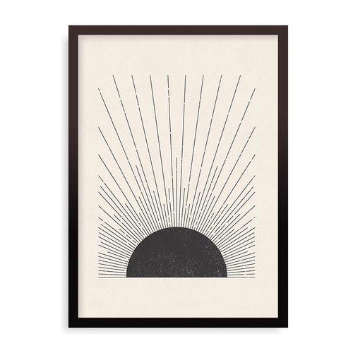 Quadro Woodblock The Sun - 31,7 x 44 cm - Preto
