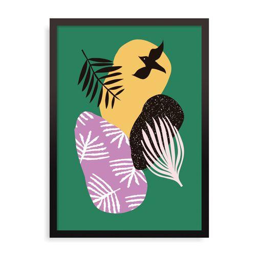 Quadro Tropical Birds In Green - 31,7 x 44 cm - Preto