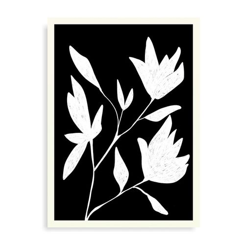 Quadro Black And Withe Botanic - 31,7 x 44 cm - Branco