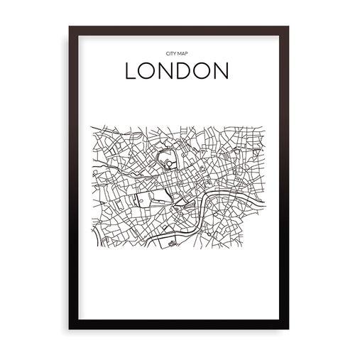 Quadro Mapa Minimalista London Branco - 44 x 61,4 cm - Preto