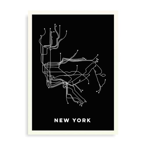 Quadro Mapa Metro New York - 44 x 61,4 cm - Branco