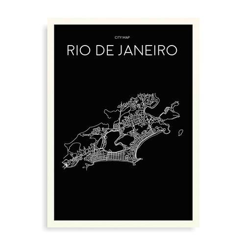 Quadro Mapa Minimalista Rio de Janeiro Preto - 44 x 61,4 cm - Branco