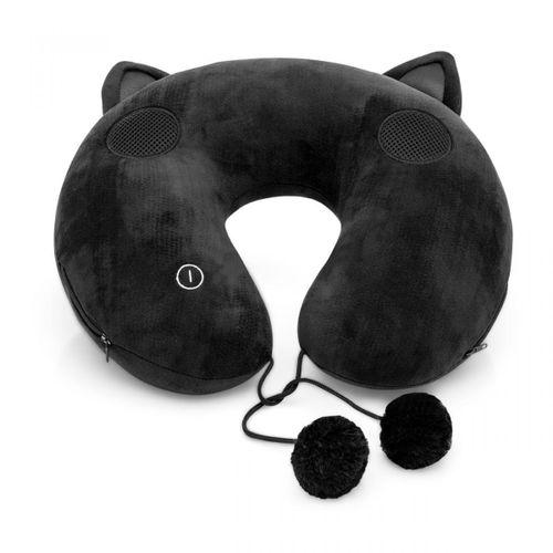 Almofada-de-pescoco-massageadora-gato-preto-com-som-embutido