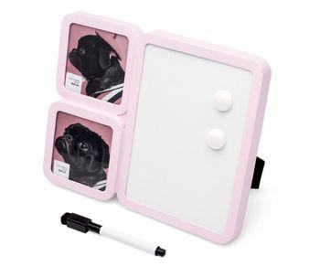 Porta-retrato-rosa-para-2-fotos-com-painel-de-recados