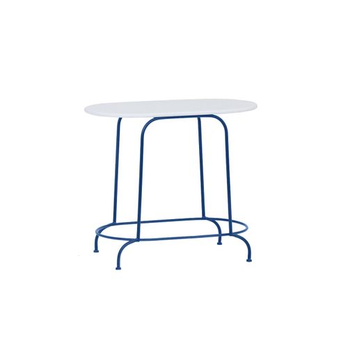 Mesa Lateral Oval Azul