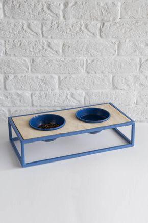 Comedouro-Pet-Metal-Azul